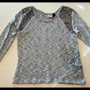 Harley Davidson Gray sequin sparkle holiday top